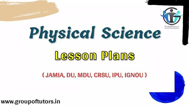 Physical Science Lesson Plans B.Ed