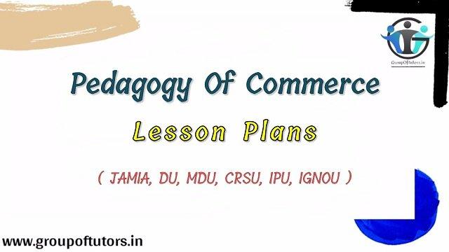 Commerce Lesson Plans For B.Ed