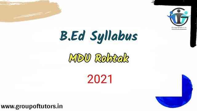 B.Ed Syllabus MDU