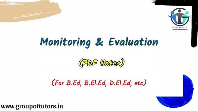 Monitoring And Evaluation Assignment Notes