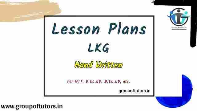 LKG Lesson Plans For NTT