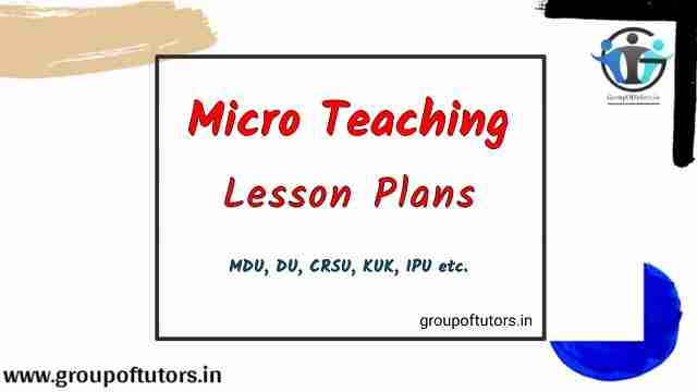 Micro Teaching Lesson Plans Group Of Tutors