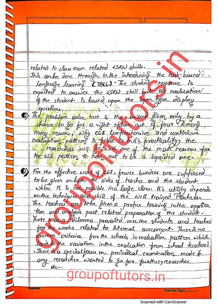 School Based Activity File For B.Ed