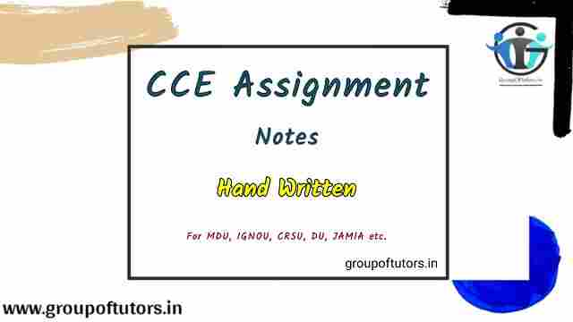 CCE Notes For B.Ed Continuous and Comprehensive Evaluation Assignment