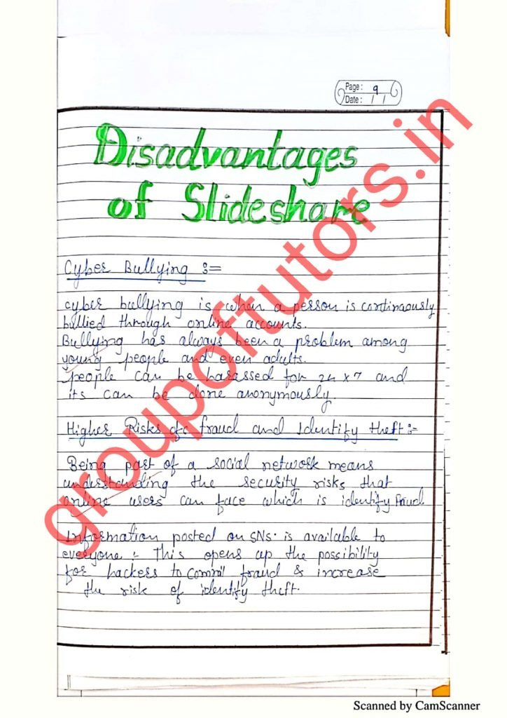 Disadvantages of Slideshare B.Ed