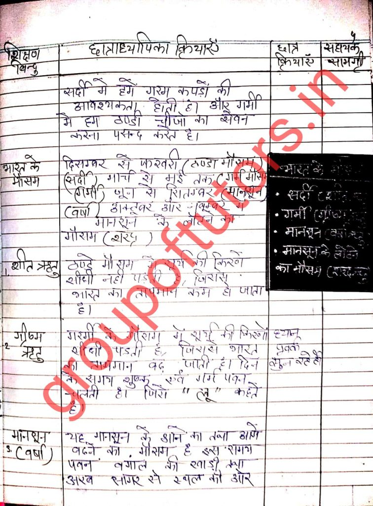 SST Lesson Plans in Hindi Group of tutors lesson plan