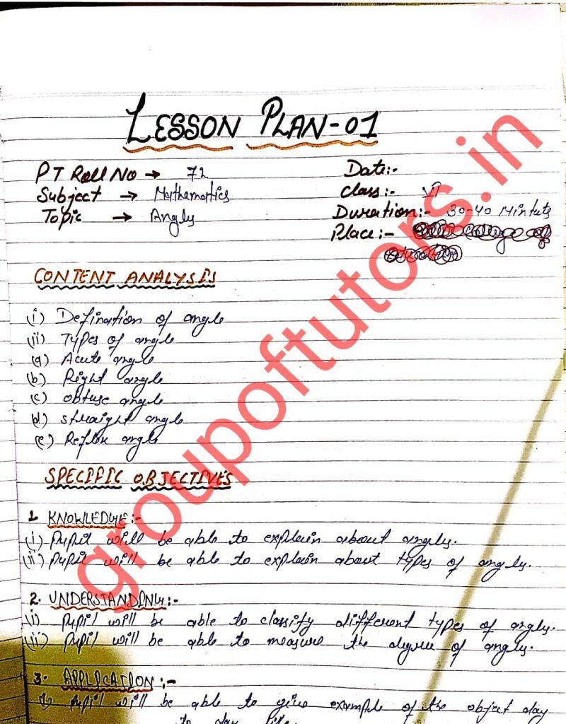 Maths Lesson Plans for B.Ed