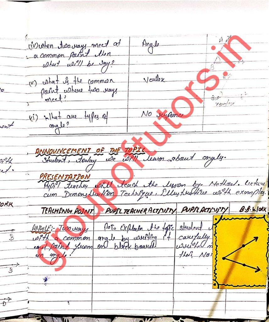 Mathematics lesson plans for b.ed group of tutors