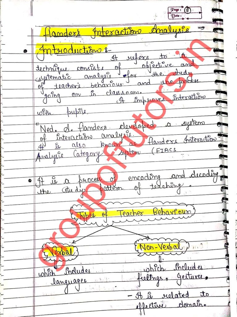 Flanders Interaction Analysis Assignment Notes for B.Ed Group Of Tutors