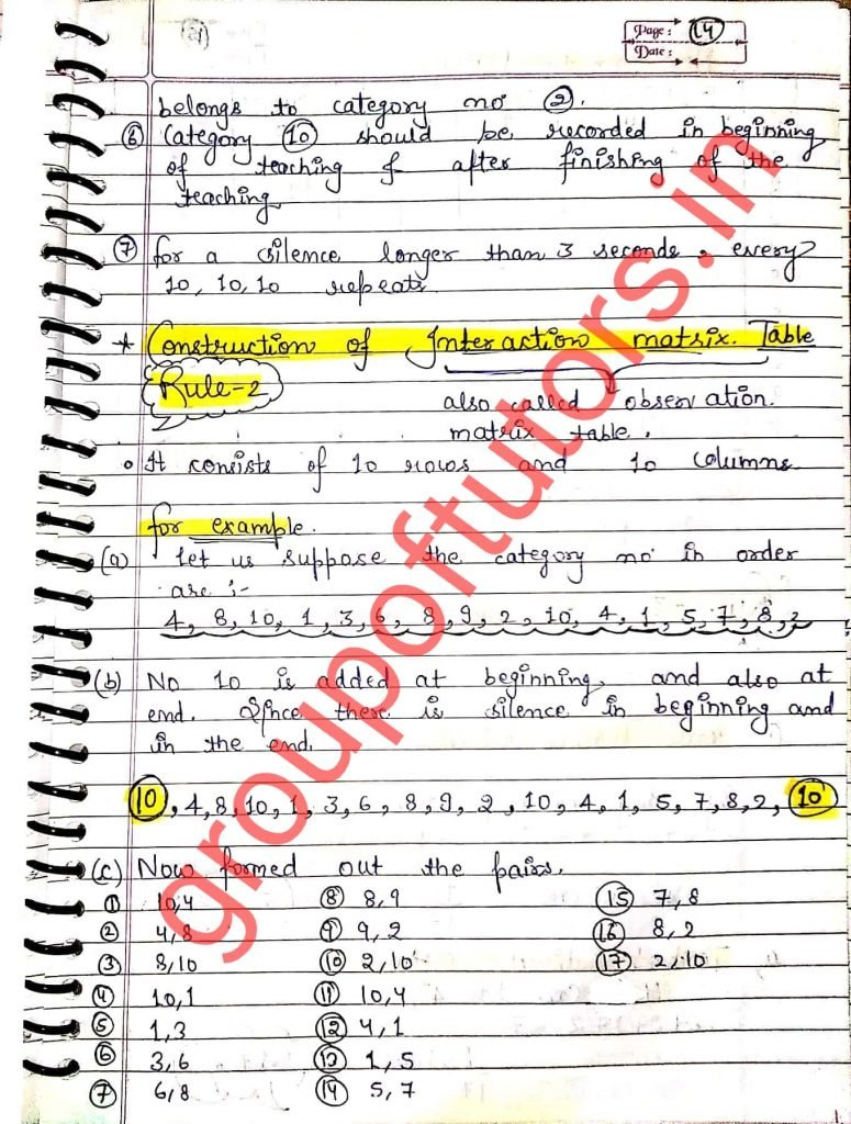 Construction Of Interaction Matrix Table Flanders Interaction Analysis Assignment Notes for B.Ed Group Of Tutors