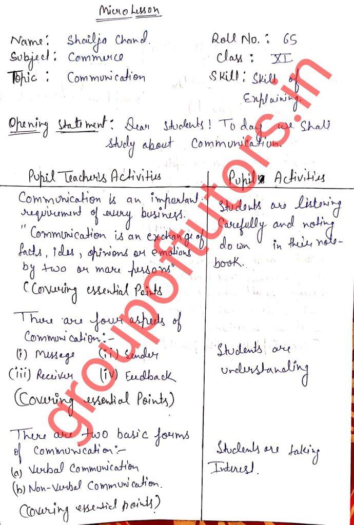 Skills Of Explaining Lesson Plan Commerce Group Of Tutors