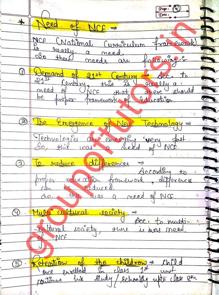 Objectives and Needs Of NCF (National Curriculum Framework) Assignment Notes For B.Ed Group Of Tutors