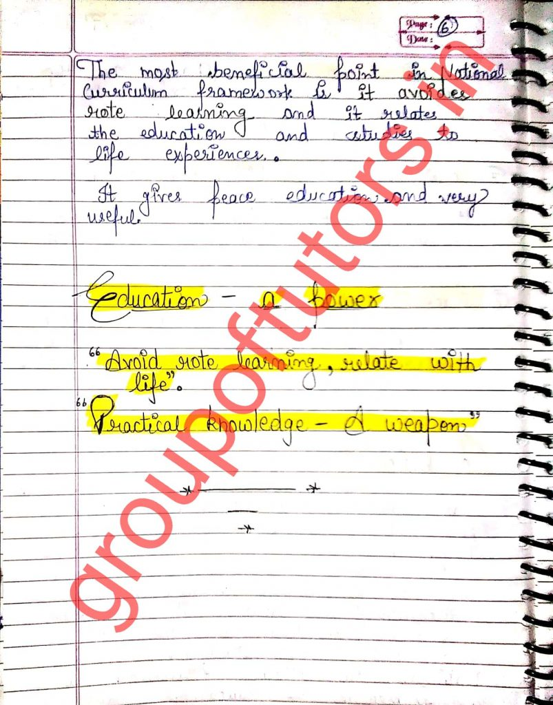 National Curriculum Framework Assignment Notes For B.Ed Group Of Tutors