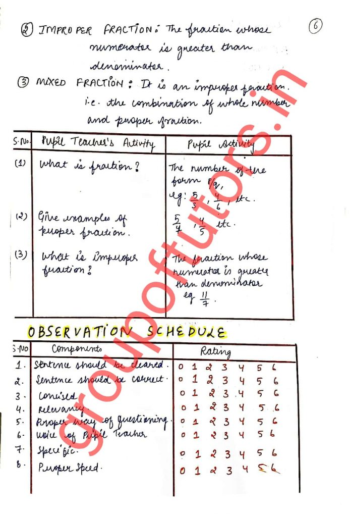 Micro Skills Maths Lesson Plans for B.Ed