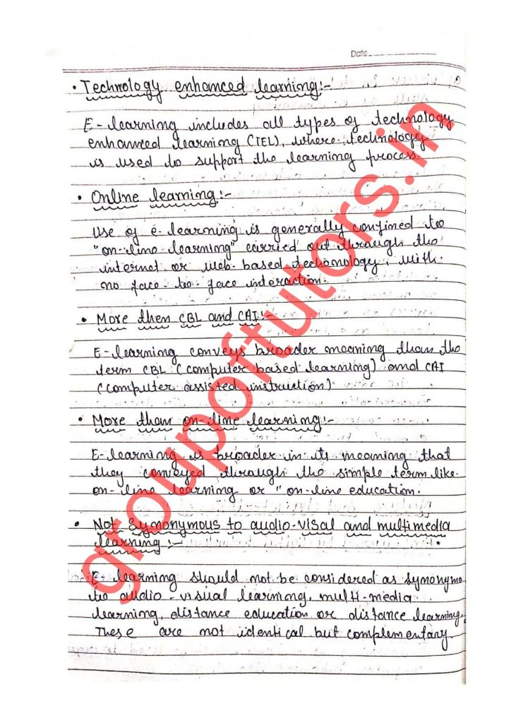 Nature and Modes Of E-Learning Assignment Notes Group Of Tutors
